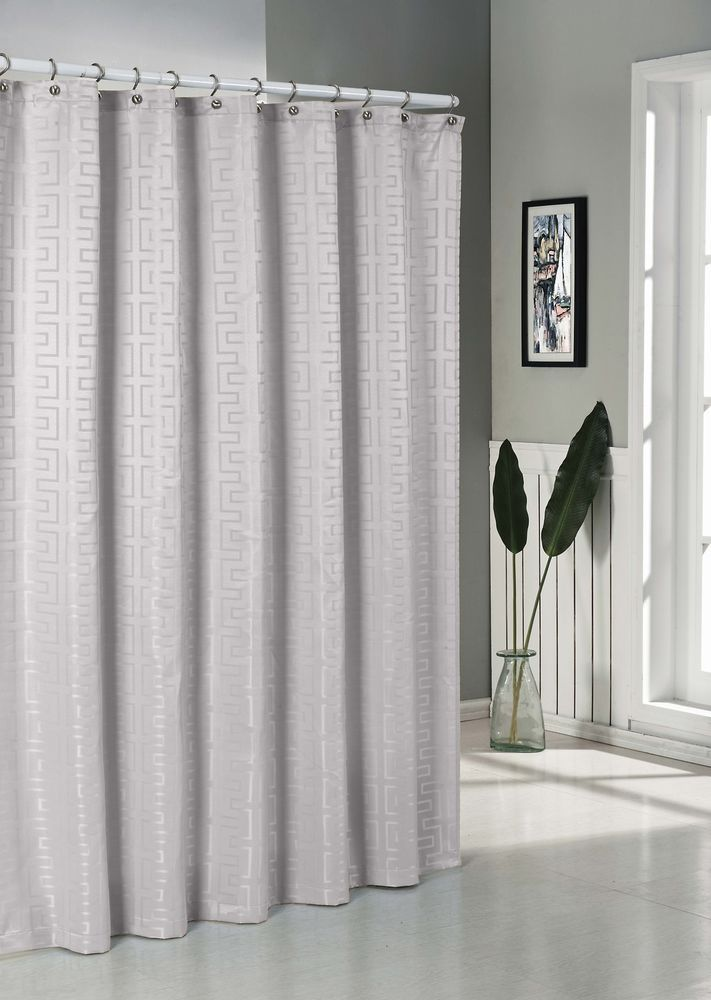 Geo Boxed Jacquard Water Repellent Fabric Shower Curtain Silver