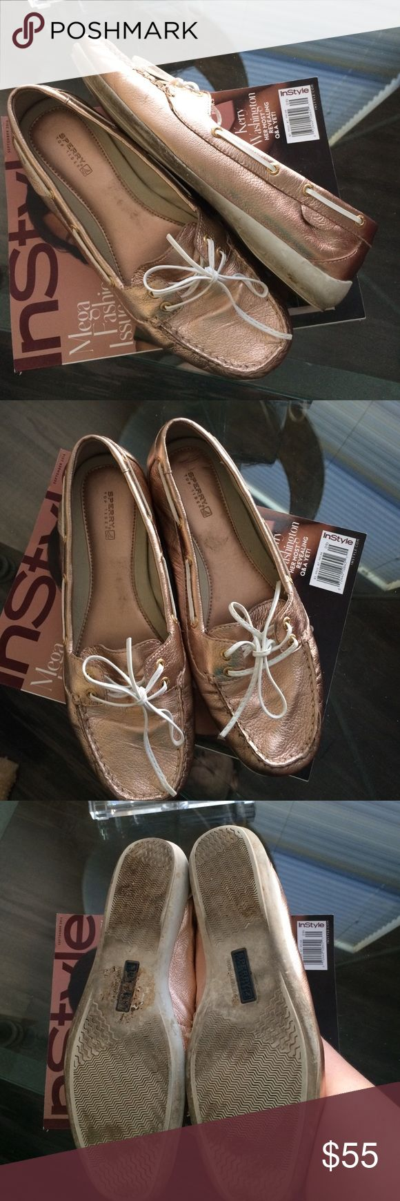 Rose Gold Sperrys Rose Gold & White Sperrys -- beautiful color, wear on white rubber soles as shown -- lots of wear left! Sperry Top-Sider Shoes