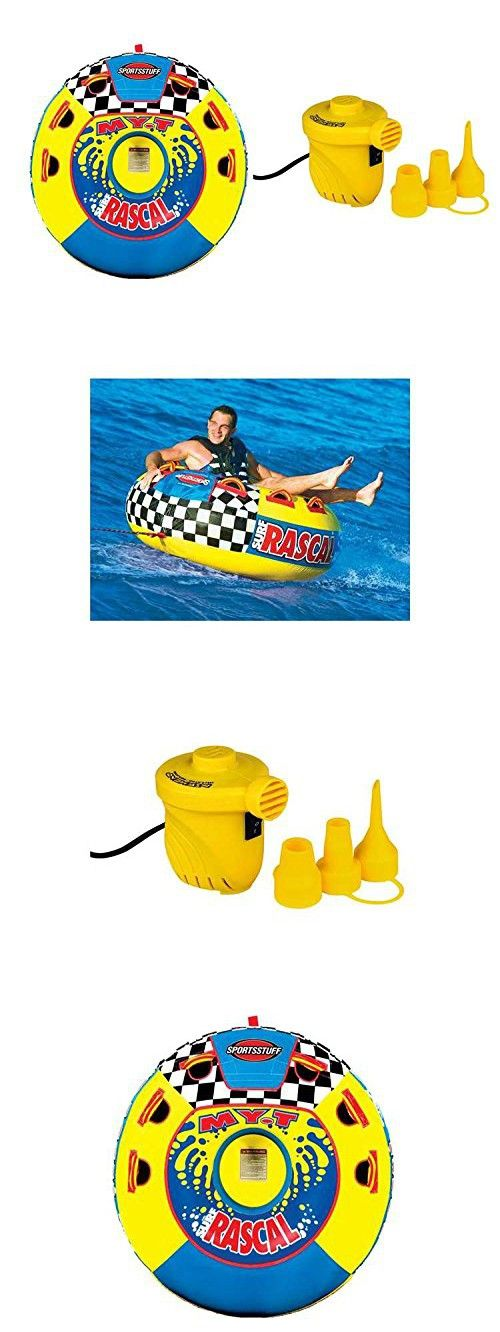 Sportsstuff Rascal Towable Tube Made of Heavy-Gauge PVC Bladder with Double-Webbing Foam Handles with Knuckle Pads + 12V Portable Air Pump Included