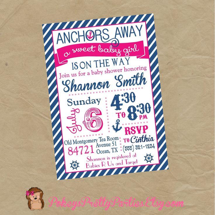 GIRLS Nautical Sailor Baby Shower  Party Invitation by PokeysPrettyParties on Etsy https://www.etsy.com/listing/194195528/girls-nautical-sailor-baby-shower-party