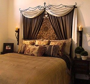 Curtains look elegant above the bed in place of headboard or over headboard.