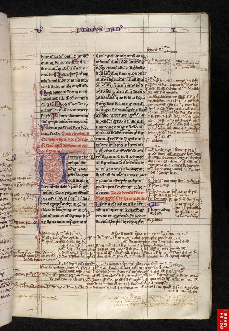 mise-en-page example Image from the Glossary for the British Library Catalogue of Illuminated Manuscripts Egerton MS 633, f. 9 This image identified by the The British Library, is free of known copyright restrictions