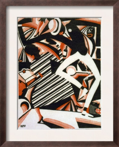 Drawing In Two Colors Or Interpretation Of Harlem Jazz Painting By Winold Reiss