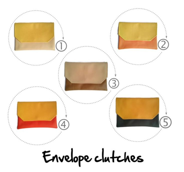 Brown colorblock clutch, envelope clutch, vegan clutch, crossbody bag, caramel and butter - pinned by pin4etsy.com