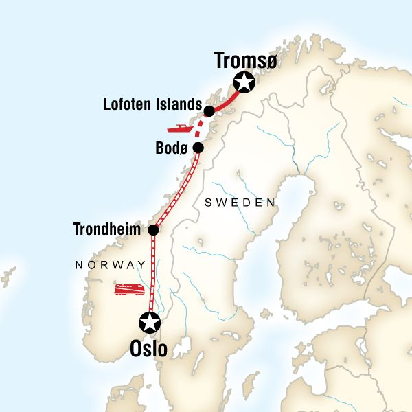 Map of the route for Northern Lights & Arctic Circle by Rail