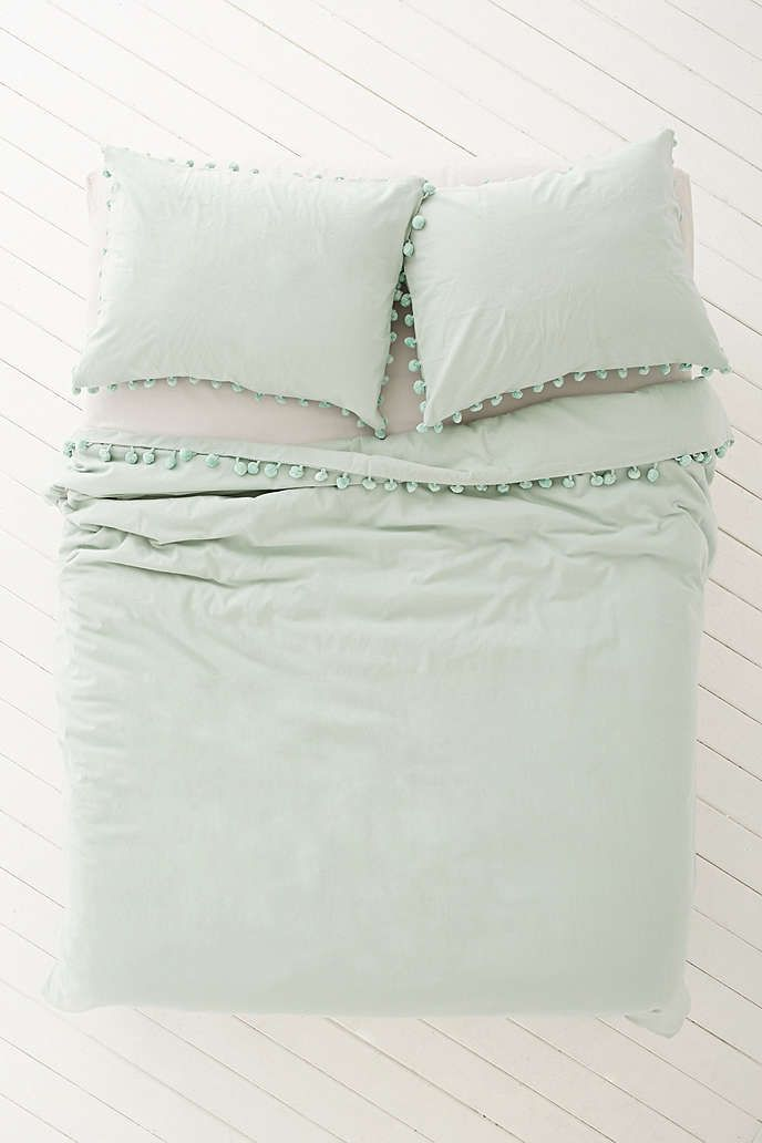 Magical Thinking Pom-Fringe Duvet Cover - Urban Outfitters-Grey Color
