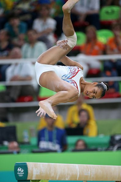 Marine Boyer of France competes in the Women's Balance Beam final on day 10 of…