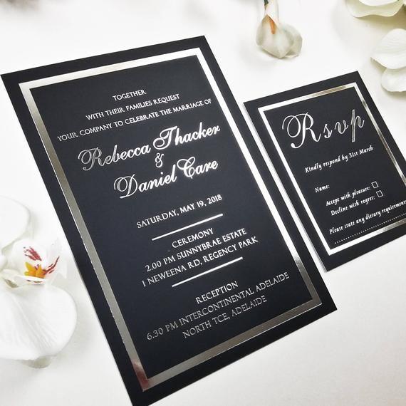 Black Silver Foiled Invitation Black Cute Invitation Black And Silver Card Silver Border In 2021 Silver Foil Invitations Foil Invitations Black Wedding Invitations