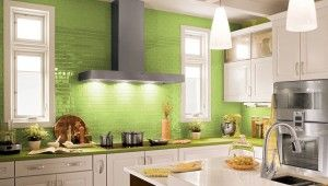 Modern Kitchen With Green Combination Color For Save Your Hardware