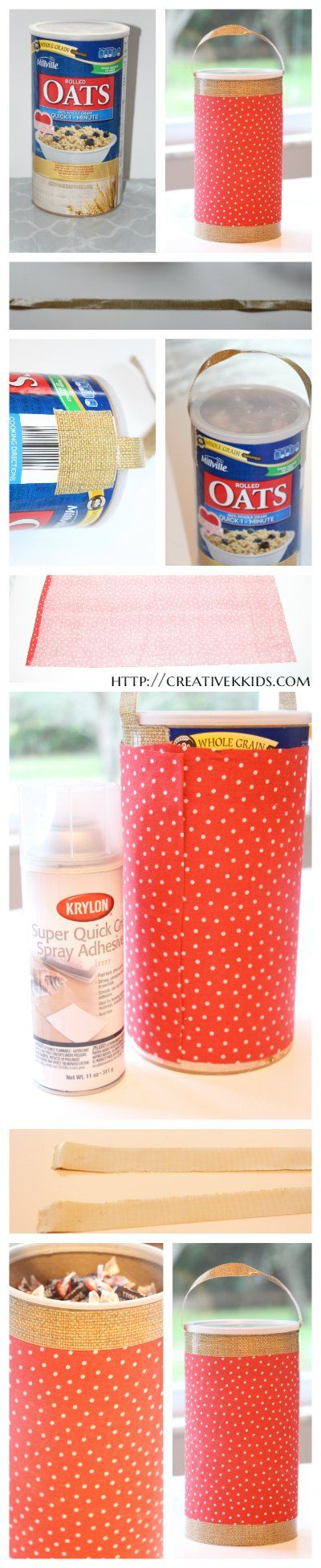 Upcycle oatmeal containers into pretty storage solutions. I made these for my back-to-school candy and prize containers. #ad