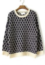 Fantastic site for cozy sweaters! Blue Long Sleeve Diaper Houndstooth Sweater $41.94