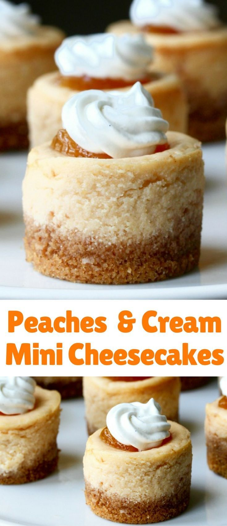 These peaches and cream mini cheesecakes are also creamy and subtly flavored with peach puree. I topped them with a dab of peach jam and a swirl of whipped cream.