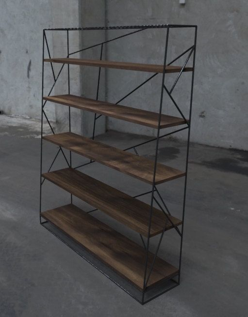 Display all of your books and nick-nacks in style with this modern steel and walnut bookcase. The framework is welded and painted a deep black. The