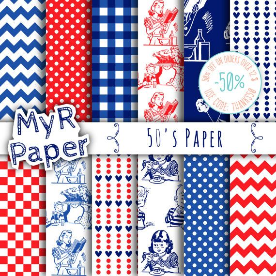 "Digital Paper: ""50's Paper"" Paper Pack & Backgrounds with Polka Dots, Chevron, Hearts, Gingham in White, Red and Blue  50% OFF ON ORDERS OVER 12 $ (OR NEARLY 12 €) USE CODE... #patterns #design #graphic #digitalpaper #scrapbooking"