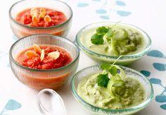 Gaspacho tomate-amandes, et soupe de concombre, avocat et coriandreVoir la recette du Gaspacho tomate-amandes, et de la soupe de concombre, avocat et coriandre >>