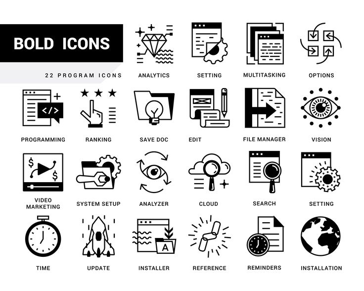 Set of 22 System Icons. by Crocolot on @creativemarket