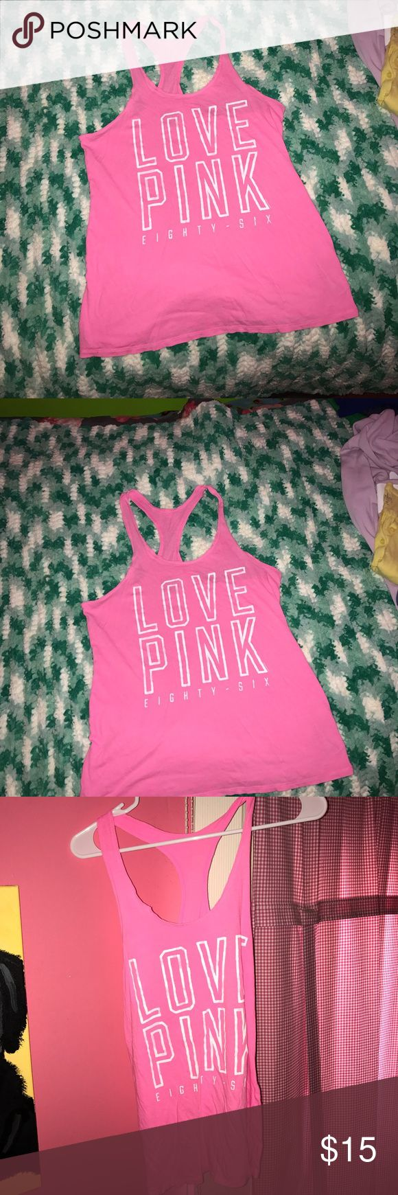 FINAL PRICE PINK TANK TOP PINK Victoria's Secret small lightweight tank top. Comfortable. Smoke free home. No stains/pilling/rips anything like that. True pink color. Fits true to size. Only have worn a few times PINK Victoria's Secret Tops Tank Tops