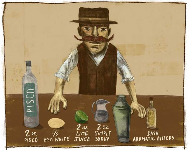 Pisco Sour Recipe + history + two awesome illustrations by Santiago Uceda!