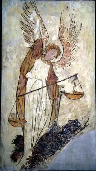 Mont Saint-Michel, l'abbaye; peseur d'âmes - l'archange Saint-Michel tenant la balance