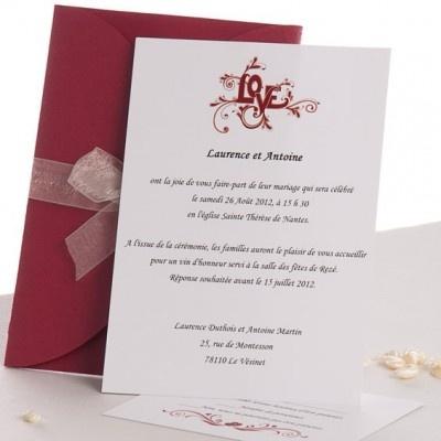 Styles de police de faire part mariage - Faire Part Mariage Pochette Rouge Ruban en Papillon JM330