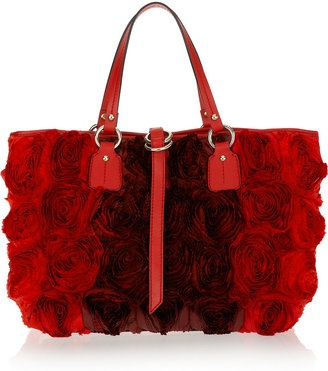 ShopStyle: Valentino Silk-taffeta rosette-embellished leather tote