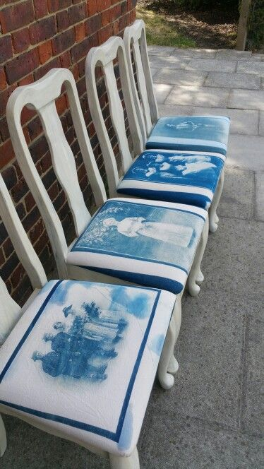 Cyanotype fabric vintage chairs. White/old ochre.