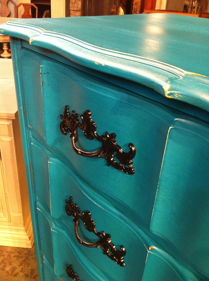 It's all about aquas & teals right now.  Distressed furniture  For more, follow us on Facebook