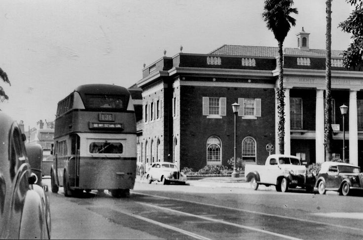 https://flic.kr/p/dWUop9   Double Decker bus is about to pass Manly town hall   Manly NSW. Photoscan.