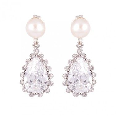 Freshwater pearl stud earrings, with diamante pear drop surrounded by smaller diamantes