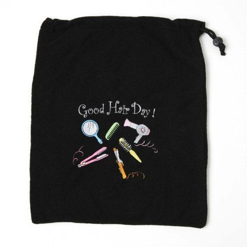 MIAMICA EMBROIDERED GOOD HAIR DAY! BLACK HAIR CARE TRAVEL BAG FOR HAIR DRYER STRAIGHTENER FLAT IRON ACCESSORIES TERRY CLOTH CASE BAG * Find out more details by clicking the image : Christmas Luggage and Travel Gear