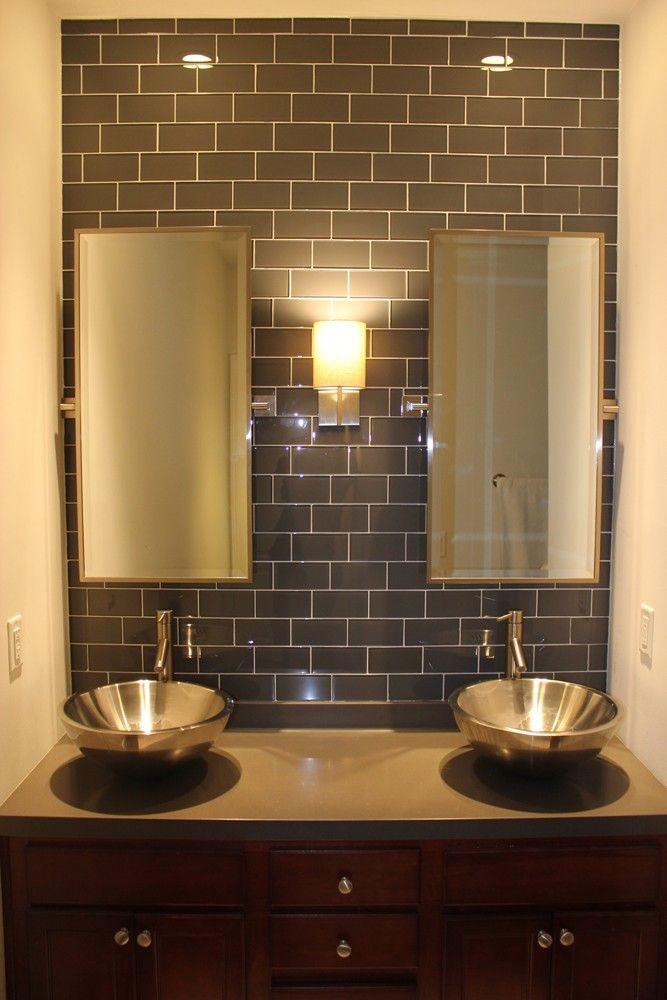 Maybe for our kitchen backsplash loft ash gray polished for Small glass tile backsplash