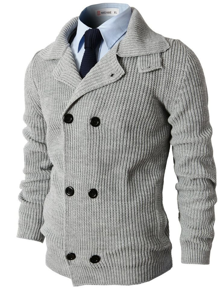 Mens Casual Knitted Slim Fit Double Breasted Cardigan Sweater