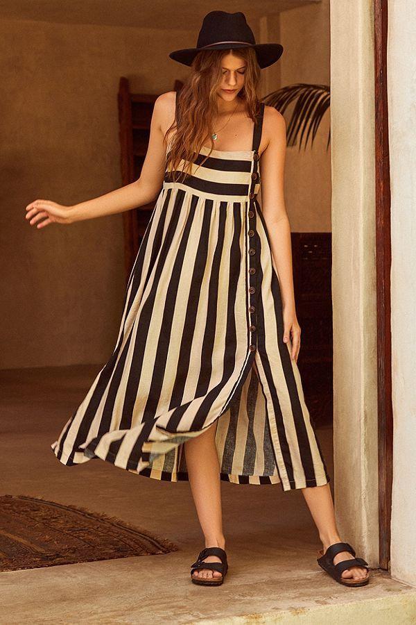 Slide View: 1: UO Deena Striped Linen Button-Down Midi Dress