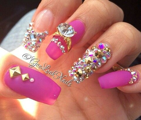 ... about uñas acrilicas on Pinterest | Nails, Gold nails and Nailart
