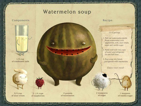 SOPAS Y FRUTAS: MELÓN. Emilia Dziubak: Watermelon Soup by.