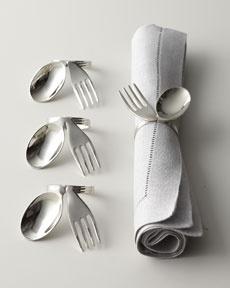 """Ensemble «fourchette et cuillère» pour serviettes de table - """"Spoon & Fork"""" Napkin Rings"""