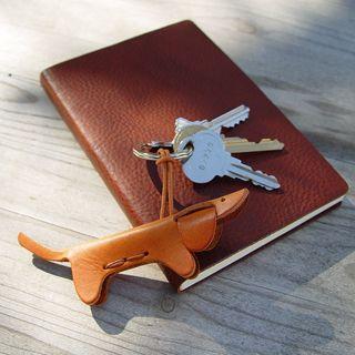 dachshund dog Italian leather keychain