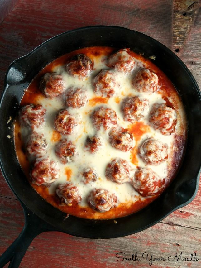Baked Meatballs with Mozzarella! Italian meatballs baked in tangy marinara and topped with gobs of buttery, gooey mozzarella. Replace Bread Crumbs with almond flour.
