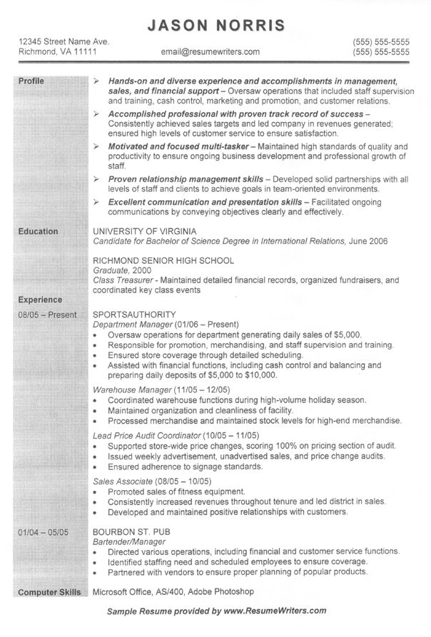 Job Resume Samples Example Of Resume Format Resume Sample Format With Us  Resume Format Grad