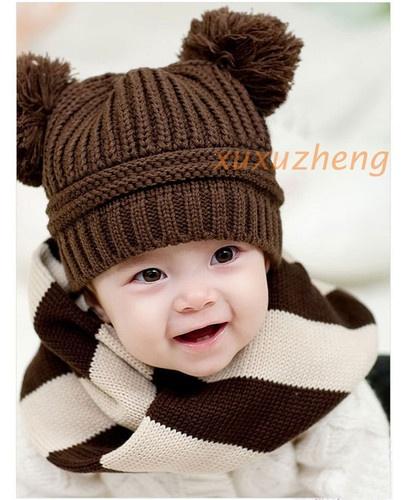 1pcs New Fashion Korean Baby Dual Ball Girls Boys Wool Knit Cap Winter Hat   eBay