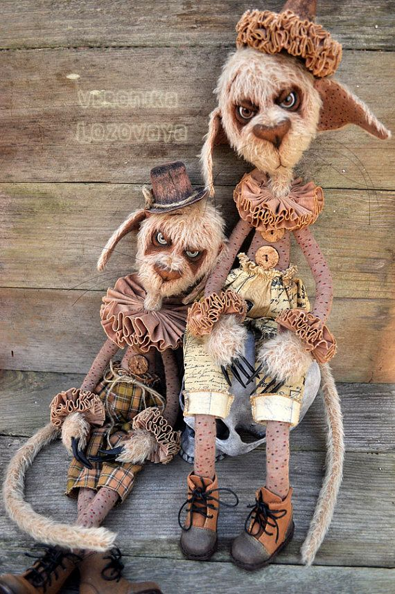 My Aunt Makes these Unique Cats. Check her out on Esty or Facebook: Steampunk  Doll Creepy Circus Cat  Doom OOAK  Artist by DarkAlley, $320.00