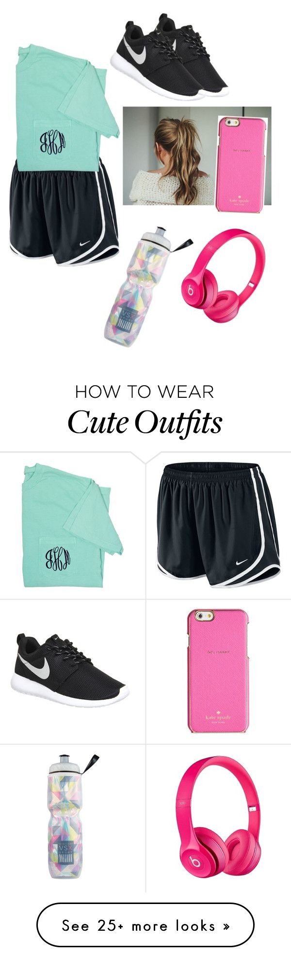 """Workout outfit"" by daylinrose on Polyvore featuring NIKE, Kate Spade, Victoria's Secret, Apple, women's clothing, women, female, woman, misses and juniors"