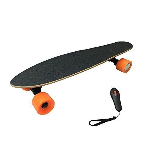 LENMO Electric Skateboard Hoverboard Long Board Retro Board 4 Wheel with Remote Control,LG Lithium-ion 2.2AH / 15km/h (Orange)  【Handheld Remote Control 】Ergonomic 2.4G remote controlling driving modes (speed/energy saving) and direction. The controller employs sine-wave modulation allowing fine-grained speed control compared to many other competitors.【Faster】Two custom high-powered brushless sensored motors, provide top speeds up to 25 km/h with strong acceleration, uphill climbing..