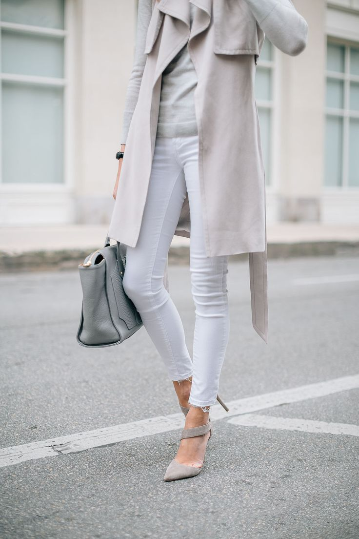 fashion-jackson-white-skinny-jeans-club-monaco-trench-vest-grey-sweater @clubmonaco @giginewyork @vincecamuto