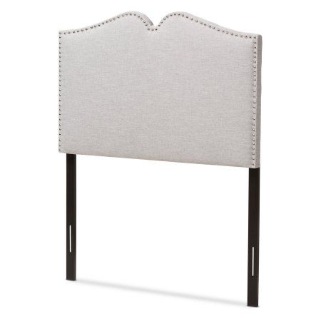 Baxton Studio Gracie Modern and Contemporary Greyish Beige Fabric Upholstered Full Size Headboard with Nail Heads Trim