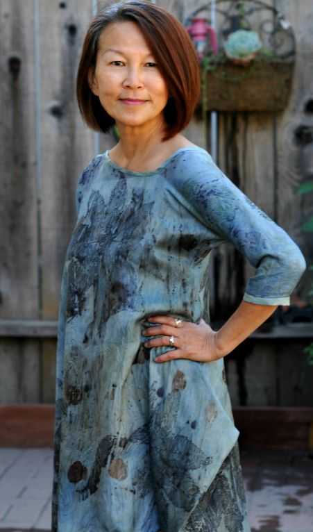Indigo dyed dress, contact printed with botanicals | Melinda Tai, Obovate Designs™