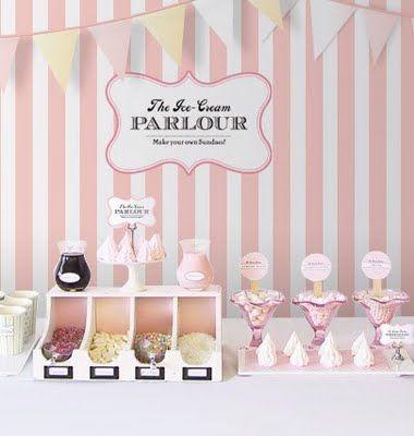 ice cream party: Ice Cream Parties, Buffet, Wedding, Icecreambar, Ice Cream Sundaes, Ice Cream Bar, Sundaes Bar, Parties Ideas, Ice Cream Parlor