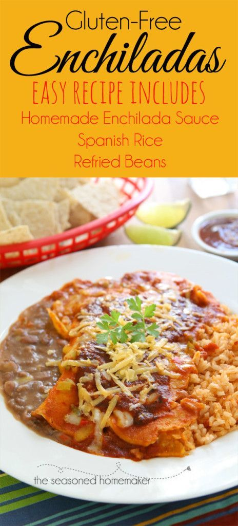 Gluten-Free Enchilada Dinner. I've included my fool-proof enchilada sauce, spanish rice, and refried beans recipes. I learned how to cook Tex-Mex to perfection while living in South Texas. I've converted everything to gluten-free and only use fresh ingredients.