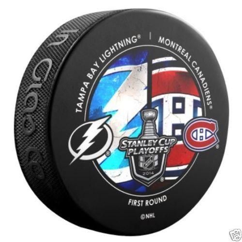 TAMPA BAY LIGHTNING vs MONTREAL CANADIENS 2014 Playoffs NHL DUELING LOGO PUCK