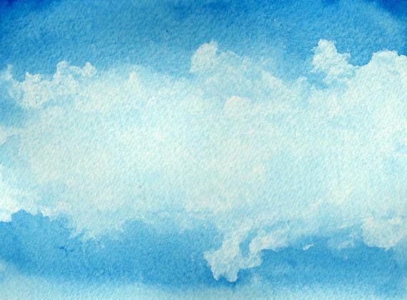 Acquerello astratto di un cielo blu con nuvole di MarMusArt